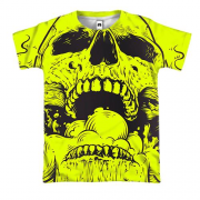 3D футболка Yellow skull with smoke