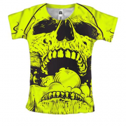 Жіноча 3D футболка Yellow skull with smoke
