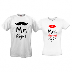 Парные футболки Mr right - Mrs always right
