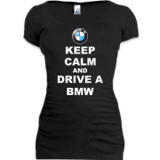 Подовжена футболка Keep calm and drive a BMW