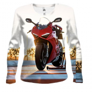 Женский 3D лонгслив Red motorcycle