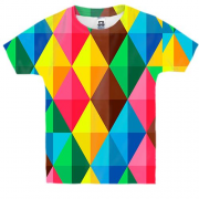 Детская 3D футболка Multicolored rhombuses