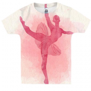 Детская 3D футболка Ballerina watercolor 2