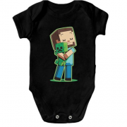 Детский боди Minecraft Boy with green doll
