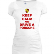 Подовжена футболка Keep calm and drive a Porsche